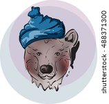 cute bear in the blue cap... | Shutterstock .eps vector #488371300