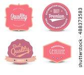 vector set pink quality label...   Shutterstock .eps vector #488373583