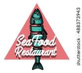 color vintage seafood...   Shutterstock .eps vector #488373943