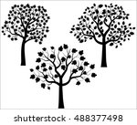 vector tree silhouettes black | Shutterstock .eps vector #488377498
