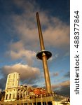 Small photo of The i360 bathed in the golden light of sunset. Brighton's newest landmark is a 162-metre observation tower which rises above the seafront giving 360 degree views of the city and the Sussex coast.