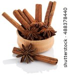 star anise in a wooden bowl...   Shutterstock . vector #488378440