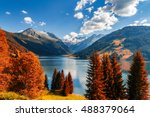 autumn view with red foliage of ... | Shutterstock . vector #488379064
