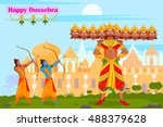 rama killing ravana during... | Shutterstock .eps vector #488379628