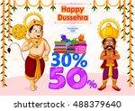 ravana offering happy dussehra...   Shutterstock .eps vector #488379640