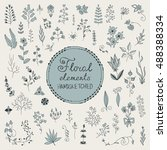 hand drawn vintage floral... | Shutterstock .eps vector #488388334