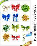 set of gift bows with ribbons.... | Shutterstock .eps vector #488393788