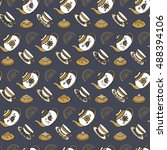 seamless pattern with different ... | Shutterstock .eps vector #488394106