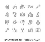 simple set of keys and locks... | Shutterstock .eps vector #488397124