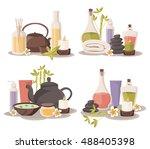spa set  towel  aromatic oils ... | Shutterstock .eps vector #488405398