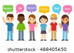 Diverse group of kids saying Hi in different languages. Cute cartoon flat design style. Language learning and international education infographic illustration.