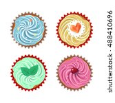 set of vector cupcakes. top... | Shutterstock .eps vector #488410696
