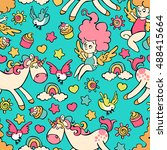 children pattern  unicorn ... | Shutterstock .eps vector #488415664