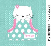 Stock vector cute cat in the pocket on polka dots background t shirt graphics for girls vector illustration 488416894