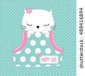 cute cat in the pocket on polka ...   Shutterstock .eps vector #488416894