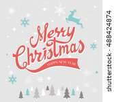 merry christmas hand drawn... | Shutterstock .eps vector #488424874
