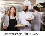 positive waitress and cooking... | Shutterstock . vector #488426290