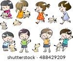 children and pet set | Shutterstock .eps vector #488429209