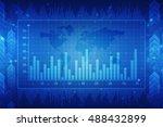2d illustration business graph... | Shutterstock . vector #488432899