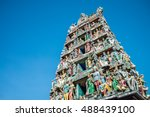The Sri Mariamman Hindu Temple Chinatown in Singapore with blue sky