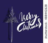christmas tree silhouette ... | Shutterstock .eps vector #488442628