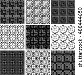 set of 9 monochrome geometrical ... | Shutterstock .eps vector #488444650