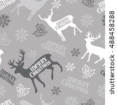 merry christmas. deer.... | Shutterstock .eps vector #488458288