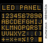 orange digital square led font... | Shutterstock .eps vector #488460526