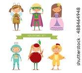 children party costumes.... | Shutterstock .eps vector #488464948