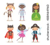 kids of different nation in... | Shutterstock .eps vector #488464960