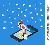 social media marketing 3d... | Shutterstock .eps vector #488475694