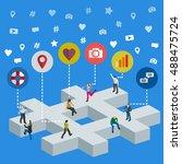 social media marketing 3d...   Shutterstock .eps vector #488475724