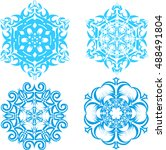 set of vector snowflakes   2 | Shutterstock .eps vector #488491804