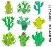 fun patch cactus set. print pin ...   Shutterstock .eps vector #488492374