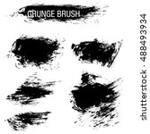 vector set of grunge brush... | Shutterstock .eps vector #488493934