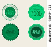vector farm badge set of fresh... | Shutterstock .eps vector #488494738