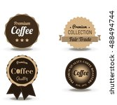 coffee beverage badge and label ... | Shutterstock .eps vector #488494744