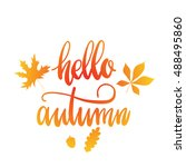 vector hand drawn card   hello... | Shutterstock .eps vector #488495860