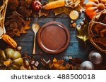thanksgiving dinner. autumn... | Shutterstock . vector #488500018