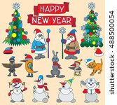 holiday card with snowflakes... | Shutterstock .eps vector #488500054