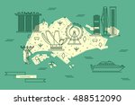 singapore map in flat line... | Shutterstock .eps vector #488512090