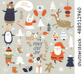 christmas cards with cute santa ... | Shutterstock .eps vector #488512960