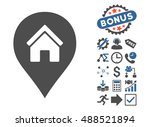 realty map marker icon with... | Shutterstock . vector #488521894