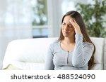 woman suffering headache and... | Shutterstock . vector #488524090