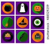 halloween vector flat icons... | Shutterstock .eps vector #488529259