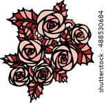 pink roses in tattoo style | Shutterstock .eps vector #488530684