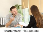 confident man talking to his... | Shutterstock . vector #488531383