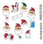 santa vector set. cartoon... | Shutterstock .eps vector #488532550