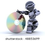 3D render of a robot with optical media disc - stock photo