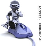 3D render of robot with a computer mouse - stock photo